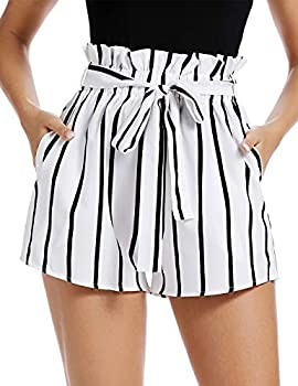 PEIQI Womens Striped Shorts High Waisted Ruffle Elastic Waist Summer Beach Short with Pockets Belt White and Black Small