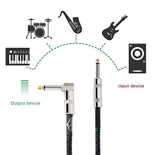 EastRock 1/4 Zoll Gitarren instrumenten kabel rechtwinklig Gitarrenkabeleingang für E-Gitarre, Bass, Verstärker, Keyboard, Mandoline und Mischpulte (3M/10ft, Schwarz-Blau)