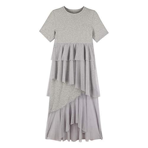 Xuba Damen-Kleid, unregelmäßig, kurzärmelig, weich, mittelgroß, mit Fransen, schicke Kleidung Gr. 58, grau