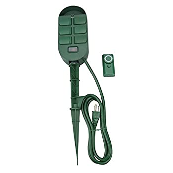 Woods 59785WD 6-Outlet Yard Stake Timer with Photocell and Wireless Remote Control  Green