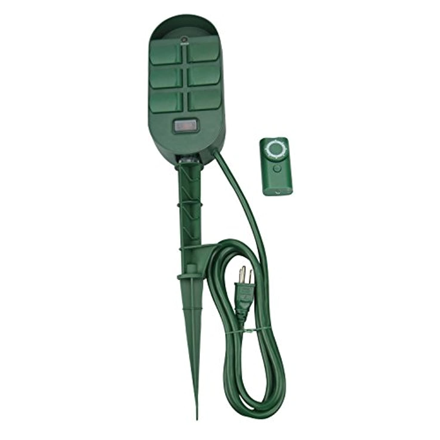 Woods 59785WD 6-Outlet Yard Stake Timer with Photocell and Wireless Remote Control (Green)
