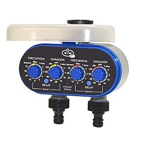 S&M 590016 Programador de grifo de 2 salidas para riego automático H-M 3/4