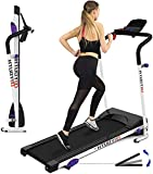 Folding Treadmill for Home with 3 Levels Manual Incline Pulse Grip and Safe Key 2.25HP Fitness Motorized Running Jogging Walking Exercise Machine with Space Saving for Home Gym Office Easy Assembly