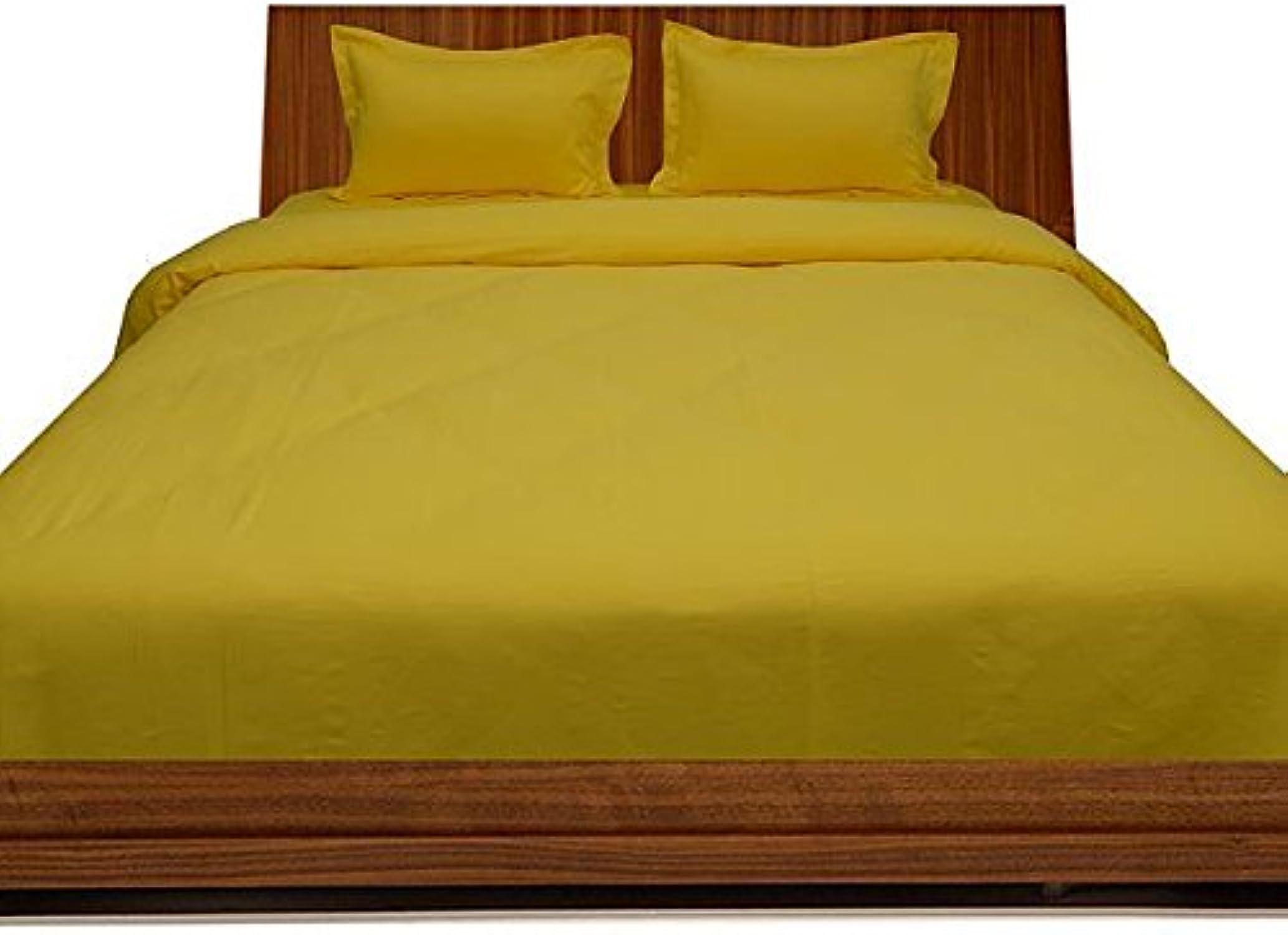 Linge de lit en coton égypcravaten 350 fils Pocket Sheet enfoncés 26 cm avec une taie d'oreiller-Simple - 100%  coton-Jaune solide 350TC