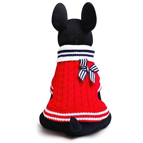 SMALLLEE_LUCKY_STORE Navidad Suéter Jersey Invierno de Punto de Cuello Alto con Lazo Sudadera Ropa de Abrigo para Gato, Perro Pequeño,Gatito,Perrito Rojo M