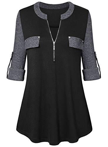 Amrto Damen V-Ausschnitt Bluse 3/4 Ärmel Farbblock Tunika Reißverschluss Langshirt Langarm Hemd Tops T-Shirt Oberteile, Schwarz-Grau XL