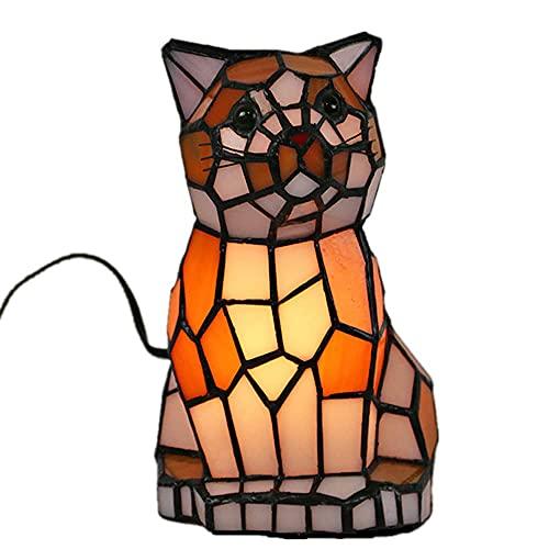 DALUXE Tiffany Cat Night Lamp, Luz de la Noche Infantil con Interruptor, lámpara de Mesa para Sala de Estar Barra de Escritorio de la habitación