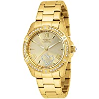Invicta Women's Angel 34.5mm Gold Tone Stainless Steel, Crystal Accented Quartz Watch