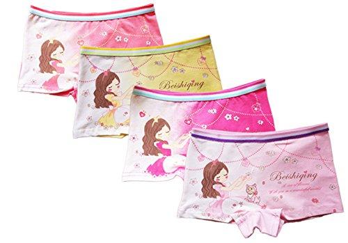 FAIRYRAIN 4 Packung Baby Kleinkind Mädchen Cartoon Princess Baumwollunterhosen Pantys Hipster Shorts Spitze Unterwäsche 8-10 Jahre