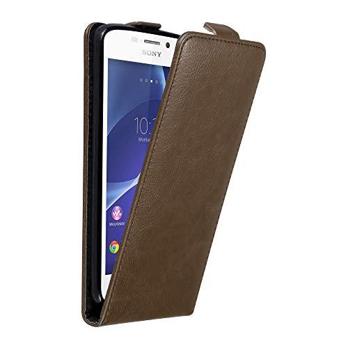 Cadorabo Hülle für Sony Xperia M2 / M2 Aqua in Kaffee BRAUN - Handyhülle im Flip Design mit unsichtbarem Magnetverschluss - Hülle Cover Schutzhülle Etui Tasche Book Klapp Style