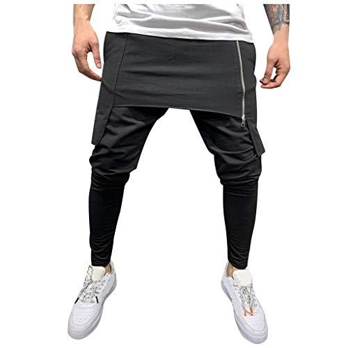 Subfamily Pantalón Deportivo para Hombre con Herramientas de Doble Costura En Color Liso Pantalones Cortos de Cremallera de Doble Capa Pantalones Deportivos de Bolsillo Pantalones de Trabajo Casual