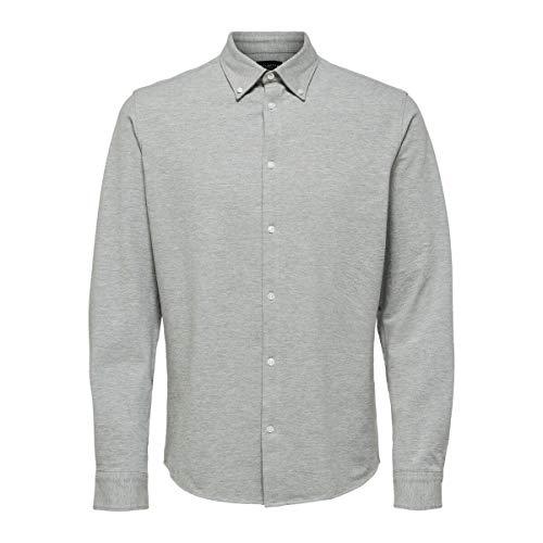 SELECTED HOMME Male Hemd Bequemes Bio-Baumwoll Strick MMedium Grey Melange