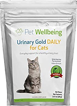 Pet Wellbeing - Urinary Gold Daily for Cats - Natural Daily Maintenance of a Healthy Urinary Tract - Bladder Infections in Cats UTI - 60 Chews