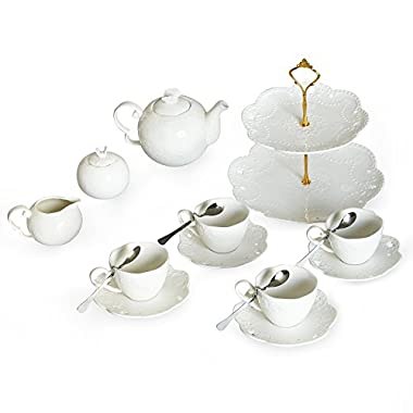 Porcelain Tea Cup and Saucer Coffee Cup Set and Dinnerware (Cup Set with Creamer, Sugar Pot & Cake Stand, Service for 4)