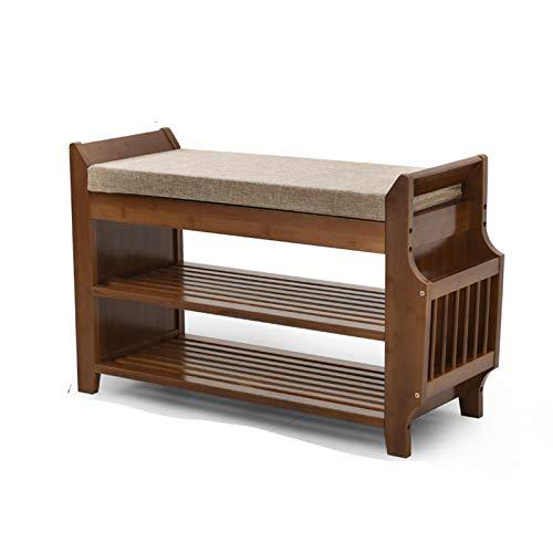 Eingangsschuhregal Bambus Schuhhocker Mit Sitz, Moderner Schubladenschuhschrank (Size : 78.5x29.5x49.5cm)