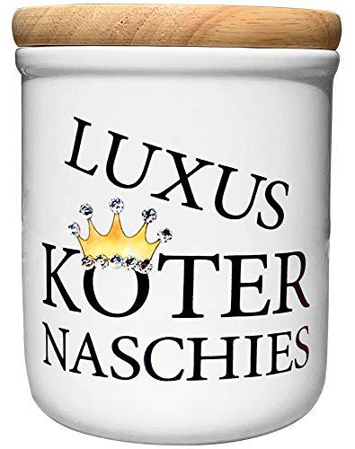 Cadouri Keramik Leckerli-Dose » Luxusköter Naschies « Deluxe Edition mit Glitzersteinchen┊Snackdose Keksdose Aufbewahrungsdose┊mit Holzdeckel