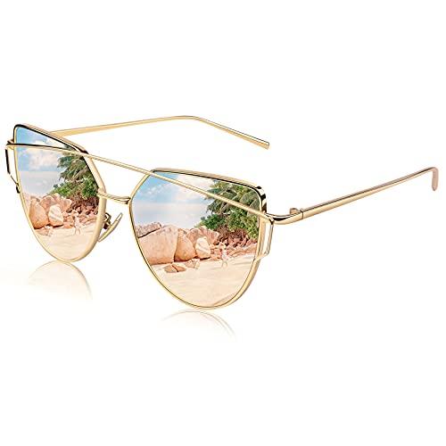 CGID Mode Polarisierte Katzenaugen Cat eye Sonnenbrille For Damen UV400 reflektierenden Spiegel Metall Rand Rahmen,Gold Rosa