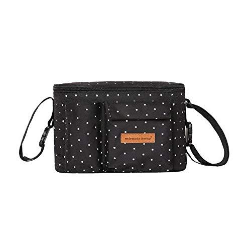 XMYNB Bolsa de almacenamiento para cochecito de bebé, bolsa de almacenamiento para pañales, bolsa de gran capacidad, bolsa para mamás, bolsa para viajes al aire libre, bolsa para botellas - negro - A