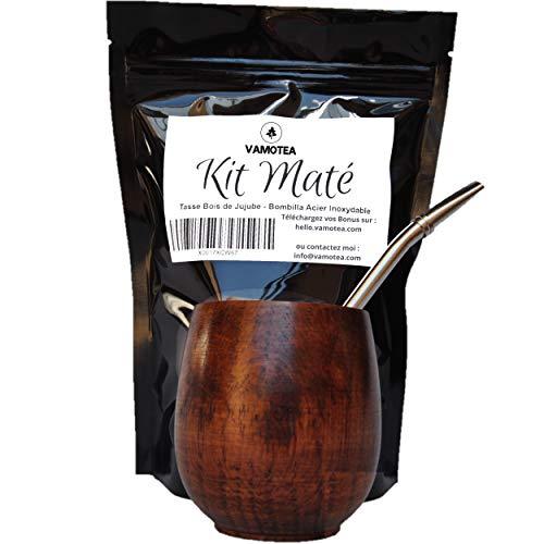 ESOAS - Mate Argentino, Set Yerba Mate : Bombilla y Calabaza de Madera, Kit para Hierba Mate, Iniciar La Degustacion, Taza y Pajita, Tea Infusion Argentina