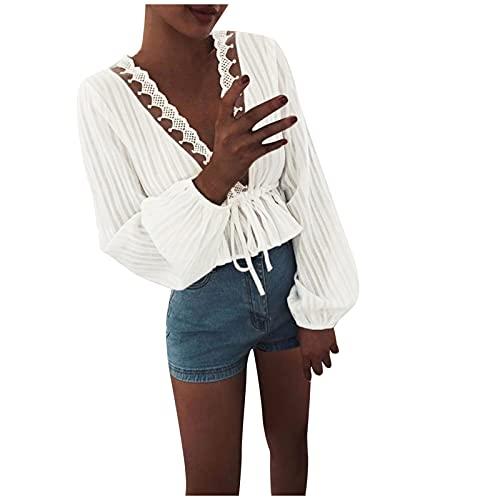 LalalukaT-ShirtDamenLongshirt Langarm Aushöhlen Spitze Korsett Verband Oberteil BluseSommer FrauenTshirt T-ShirtBlusenTunikaTopBluseshirtT-ShirtHemdLongshirtKurzarmshirt