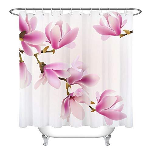 dsgrdhrty Frühling rosa'Pflaume Badezimmer Duschvorhang dekorativen Stil wasserdicht 180x180