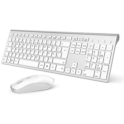 J JOYACCESS Tastatur Maus Set Kabellos, Funktastatur mit Maus, 500mAh Wiederaufladbar Akku, 2.4G Ultraslim Funktastatur mit Ziffernblock(Deutsch QWERTZ Layout) für PC/Laptop/Smart TV - Silber und Weiß