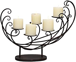 Adeco HD0027 Decorative Iron Tabletop 4-Candle Pillar Candle Holder, Scoop Sleigh Scroll Design, Black with Antique Finish