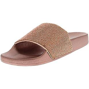 Viva Womens Diamante Fashion Platform Sliders Slip On Mules Summer Shoe Sandals - Rose Gold PN0136 8UK/41:Savelaguasia