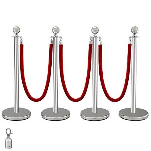 VEVOR Edelstahl Absperrpfosten Seil Abgrenzungsständer Kugelkopf 3 Rote Samtseile Silberne Säule 4 Packung Crowd Control Barriers