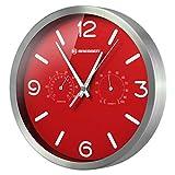 Bresser MyTime Thermo-/Hygro Reloj de Pared, Acero, Rojo, 0 cm
