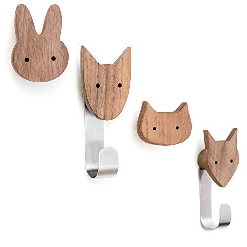 Kleiderhaken für Kinder aus Holz in Tierformen, Walnuss, Wandhaken, Garderobenhaken, Garderobe, Kinderzimmer, Tiere, Hund, Katze, Fuchs, Hase, Deko