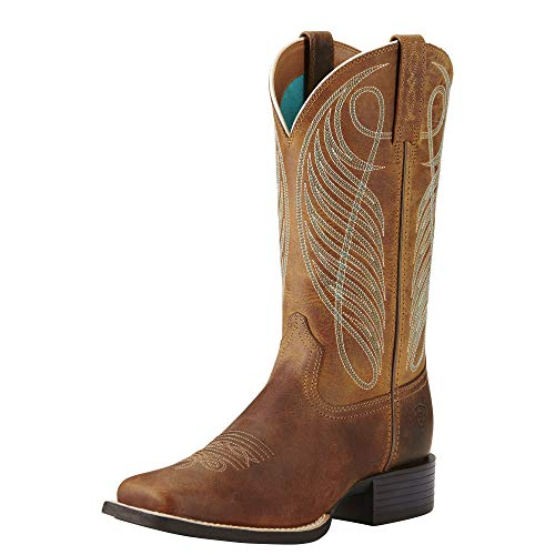Ariat Women's Round Up Wide Square Toe Western Boot, Powder Brown - 10