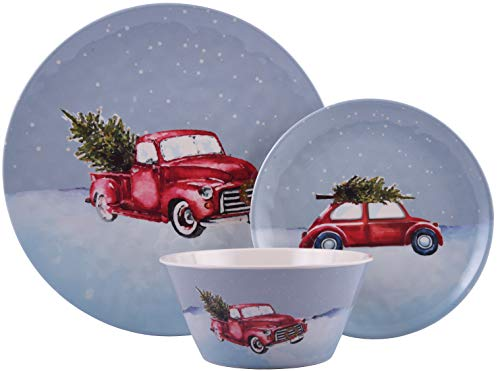 Melange 608410091481 12-Piece 100% Dinnerware Set for 4 Christmas Collection-Tree on Van Shatter-Proof and Chip-Resistant Melamine Dinner Plate, Salad Plate & Soup Bowl (4 Each), 10.5', White