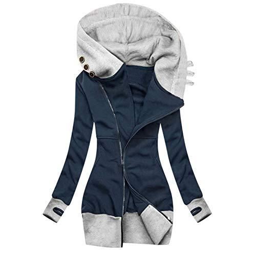Auifor Damen Kapuzenpullover, Sweatshirt mit Reißverschluss,Herbst Winter Hoodie Kapuzenjacke Sweatjacke lang Mantel Jacke Mit Kapuze Lange Gefüttert(C-Marine,Large)