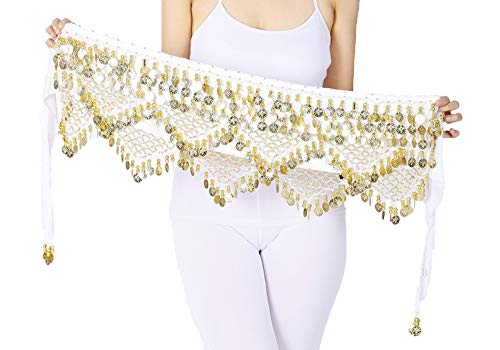 Belly Dancer Hip Scarf Skirts Dance Costumes Women Plus Size White