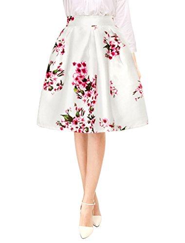 Allegra K Women's Flower Prints Concealed Zipper Pleated A Line Skirt XL White