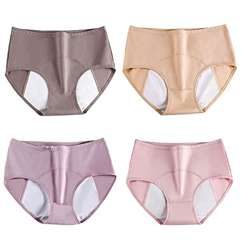 SWGN Bragas del Período Menstrual Algodón Bragas Cómodas y Fáciles de Limpiar de Talla Grande para Mujer (Paquete de 4)