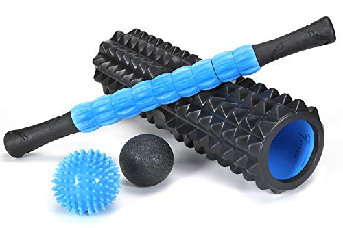 Fitem Foam Roller Kit de Massage Profond - Rouleau de Massage - Mal de Dos - Courbatures Musculaires & Trigger Points - Récupération Sportive et Bien-être