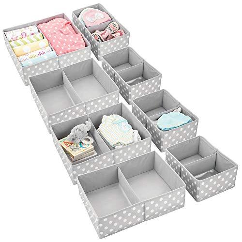 mDesign Juego de 8 Cajas de almacenaje para Cuarto Infantil y Ropa de bebé – Cesta organizadora Plegable en 2 tamaños – Organizador de armarios de Fibra sintética Transpirable – Gris Lunares Blancos