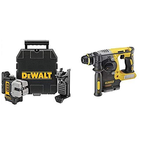 DEWALT DW089K-XJ 3 Way Self Levelling Multi Line Laser, Red, Black/Yellow & DCH273N 18V XR Li-Ion SDS Plus Rotary Hammer Drill, 18 W, 18 V, Yellow/Black