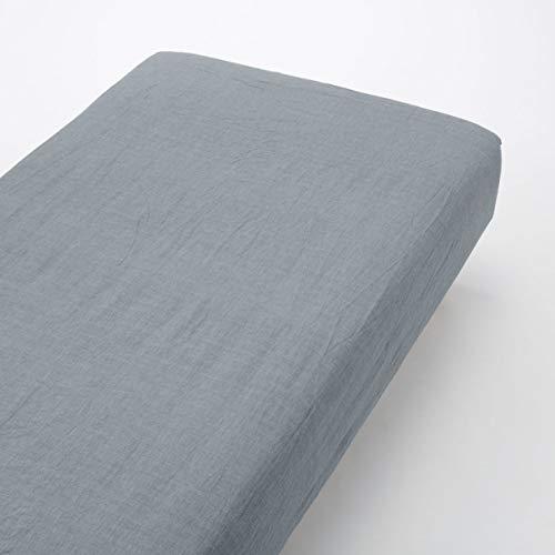 無印良品 綿洗いざらしボックスシーツ・S/ネイビー 100×200×18~28cm用 82229561