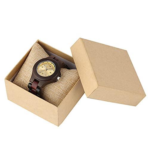 CAIDAI&YL Relojes para Mujer Reloj de Cuarzo de Madera Natural Simple Esfera pequeña Amarilla Elegante Reloj de Madera para Mujer Correas de Reloj de Madera Completa, Madera de ébano con Caja