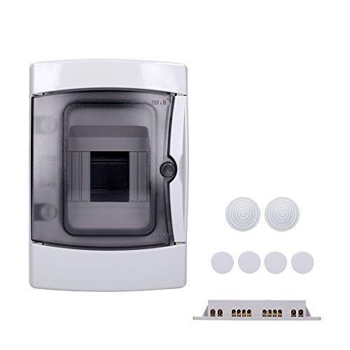 Aufputz Feuchtraum Verteiler 1-reihig IP65 4 Module Verteilerkasten Kleinverteiler Sicherungskasten, Tür transparent