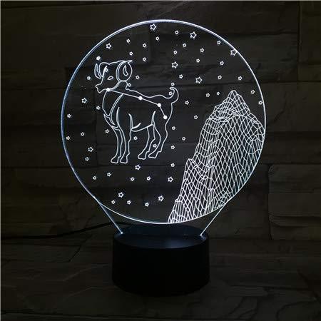 Ram 3D Illusie Lamp 3 Modi 7 Kleuren LED USB Aangedreven Slaaplamp Speelgoed voor Kinderen, Verjaardagscadeau, Bedkant Tafel Decoratie