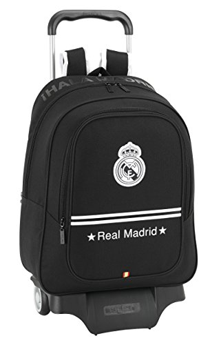 Real Madrid - Mochila Carro Grande, 33 x 43 cm, Color Negro (SAFTA 611524313)