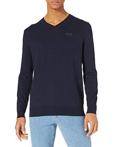Superdry Mens ORANGE Label VEE Pullover Sweater, Carbon Navy Marl, S
