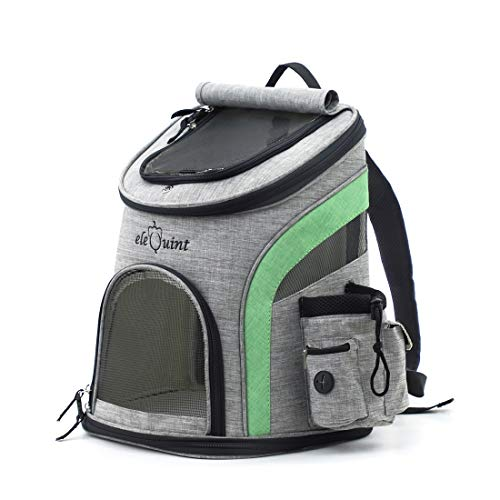 eleQuint Small Pet Hiking and Travel Backpack Lightweight Durable Airline Approved with Safety Locks