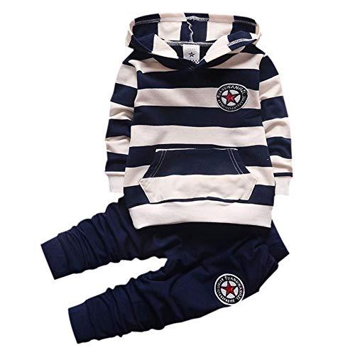 Gyratedream - Conjunto infantil de dos piezas estampado de manga larga para niños y niñas con sudadera a rayas + pantalones de 1 – 4 años Negro  80 cm(0-12 meses)