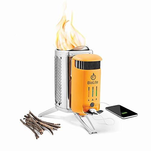 BioLite(バイオライト)キャンプストーブ2 PLUS 【内蔵電池】3,200mAh リチウムイオン電池 【付属品】フレックスライト、収納袋×2(モジュール用、キャンプストーブ2 PLUS用)、本体充電用ケーブル、着火剤 (シルバー/イエロー)