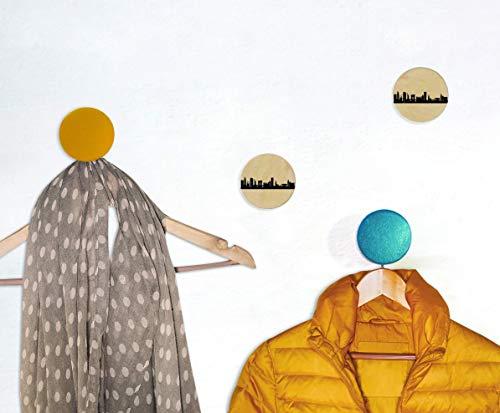 3 Design-Wandhaken New York Runde City Dots Natur Individuelle Wand-Gardrobe aus Holz, Bedruckt Lackiert